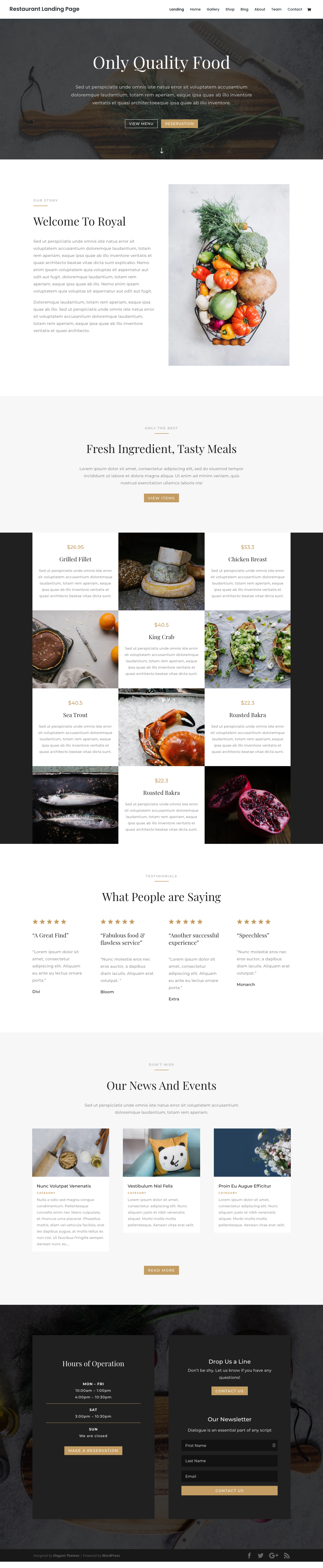 A layout for a template for a restaurant website